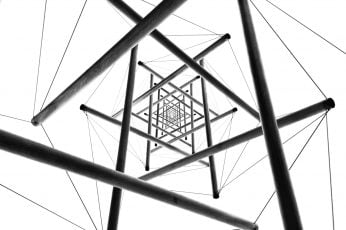 Low angle photography of the gray metal structure