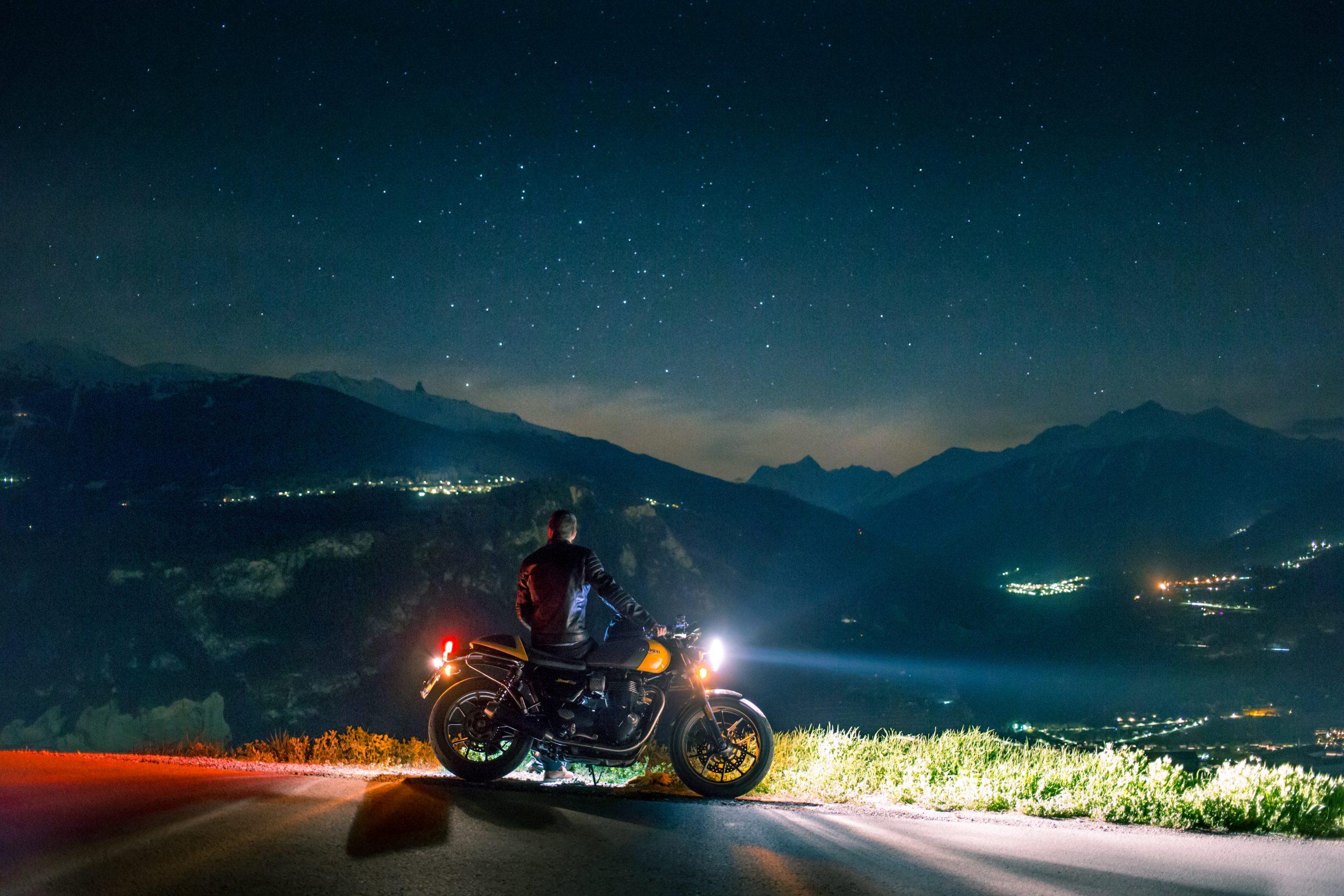 wallpaper Man siting on motorcycle at night