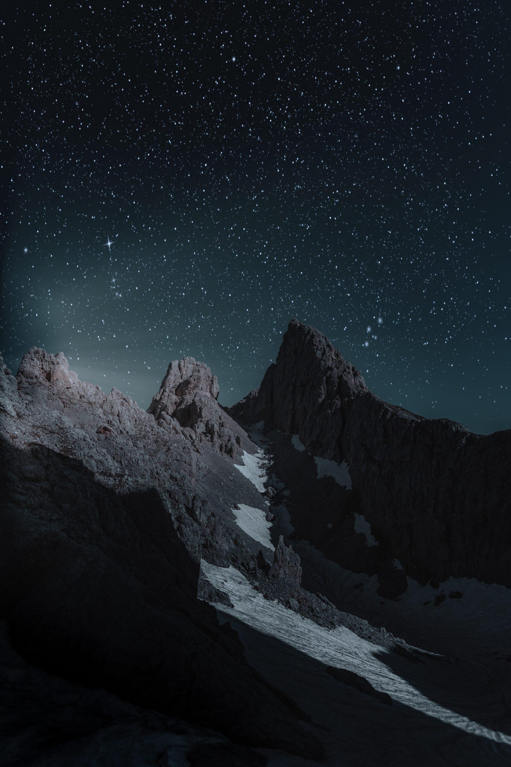 wallpaper Brown mountain at nighttime
