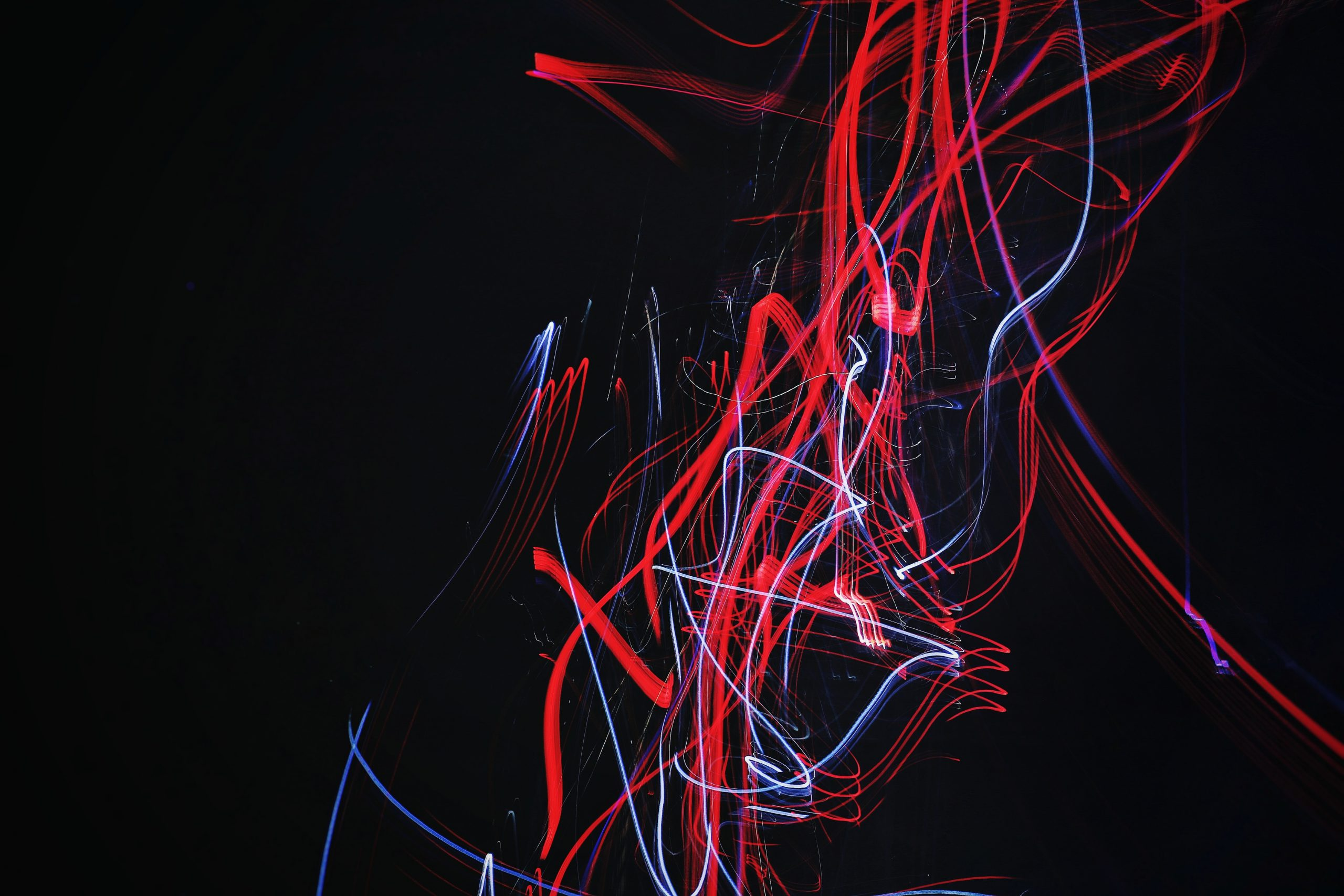 wallpaper Red and blue doodle artwork with black background