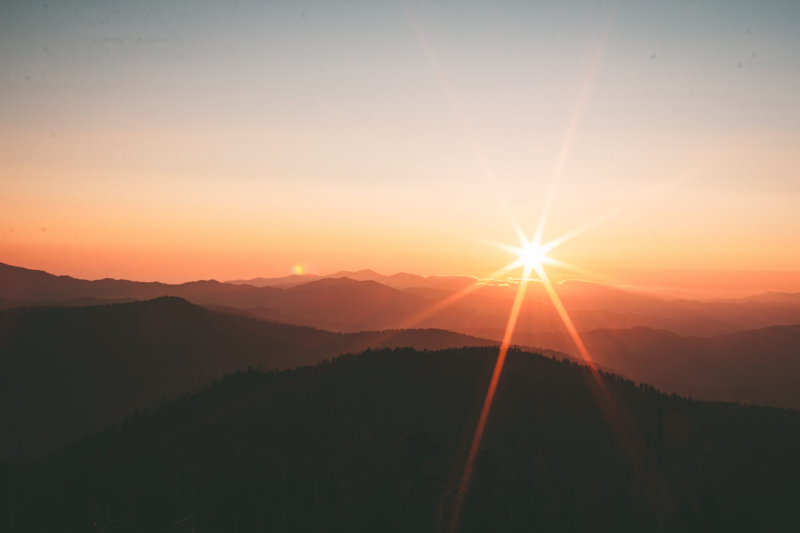 wallpaper Silhouette of mountains during sunset