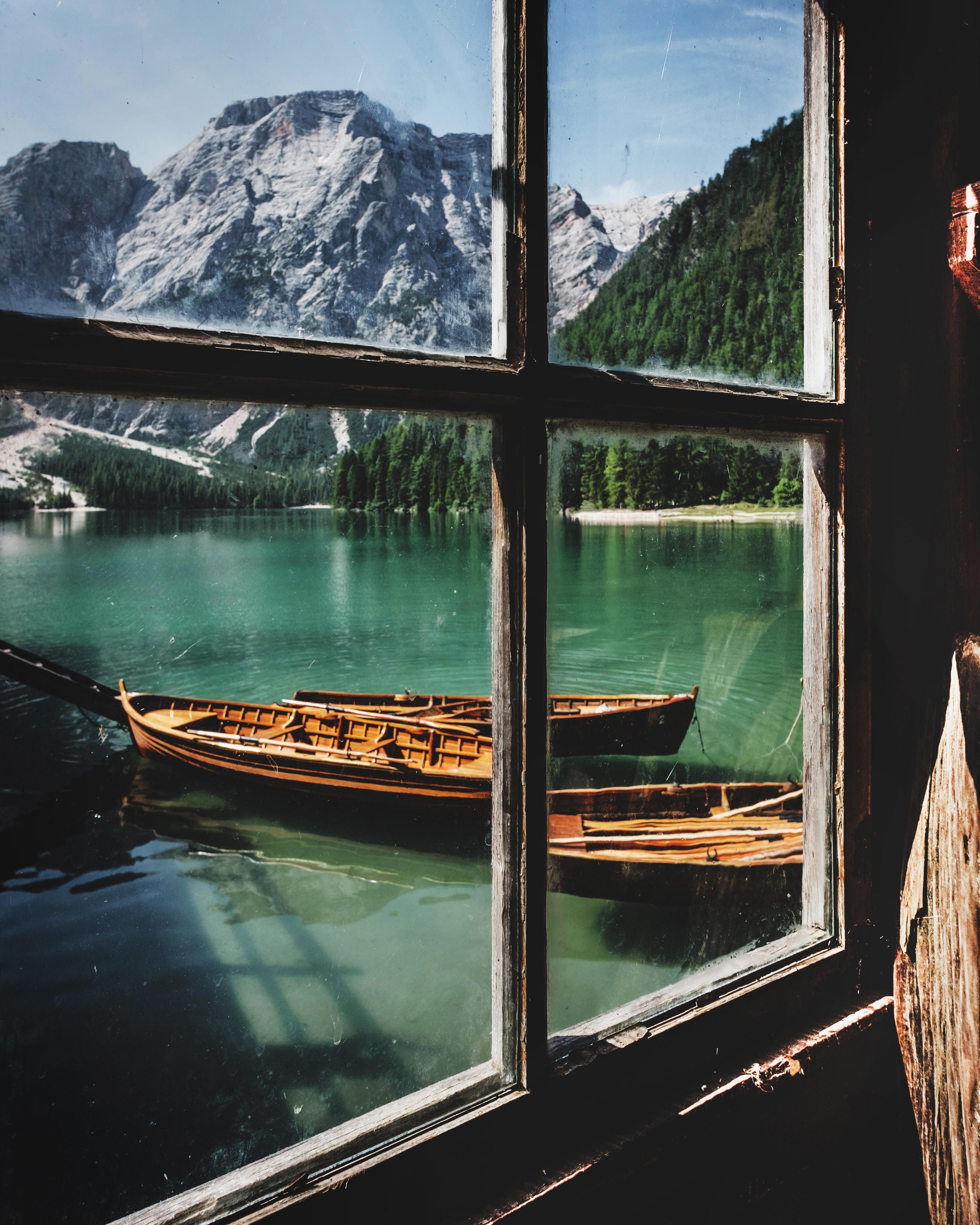 wallpaper Four brown wooden boat near dock