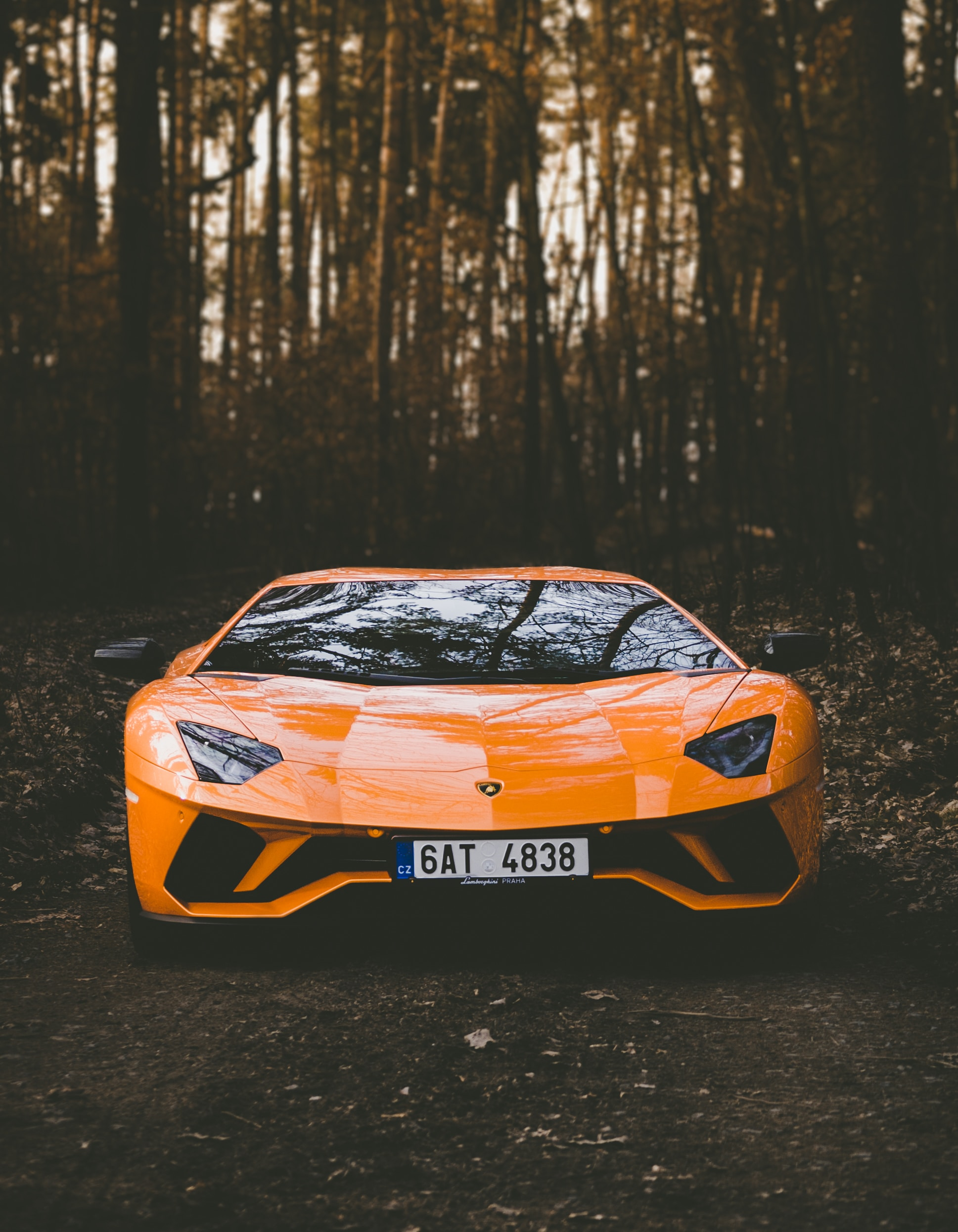 wallpaper Orange Lamborghini car