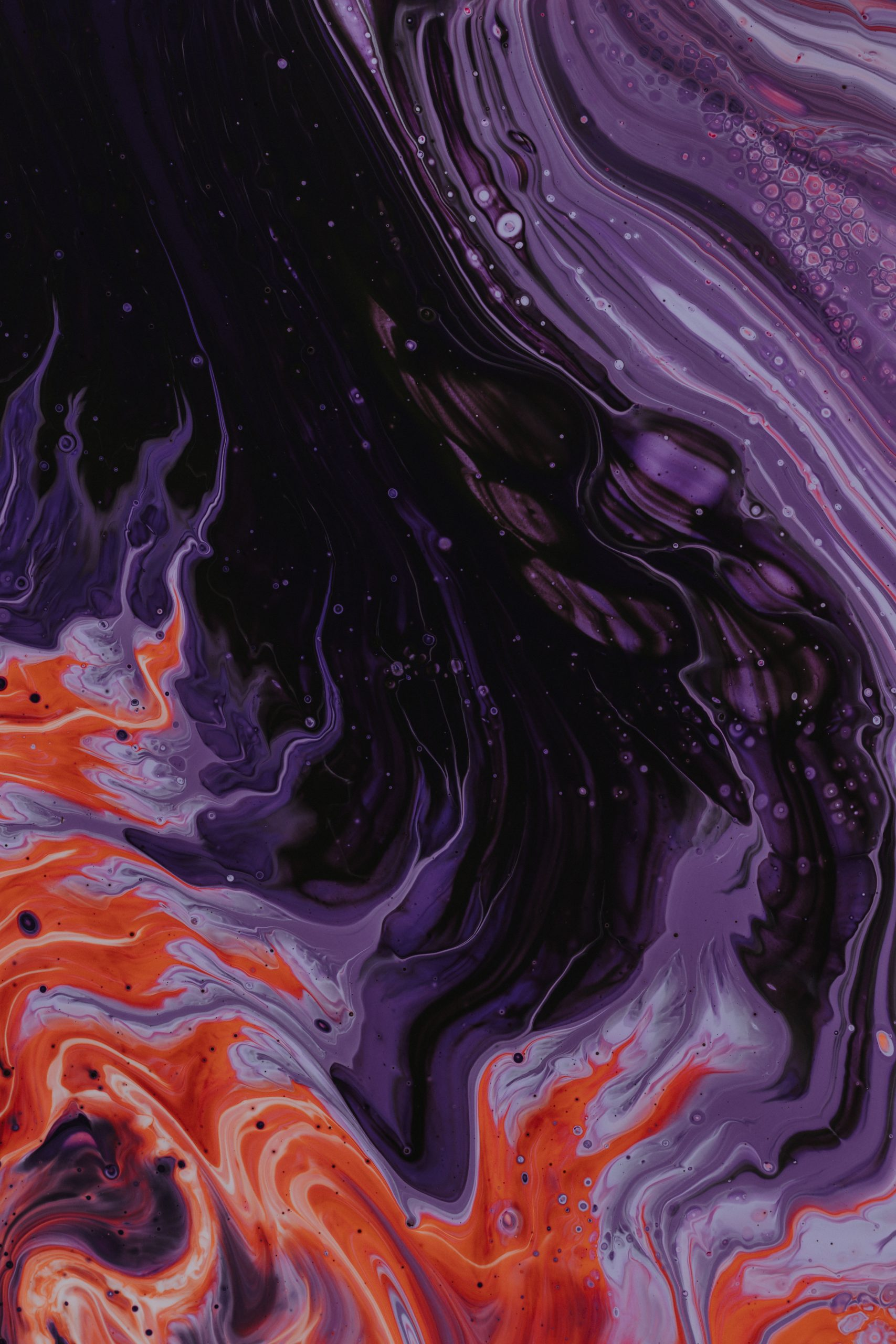 wallpaper Purple, black, and orange abstract painting
