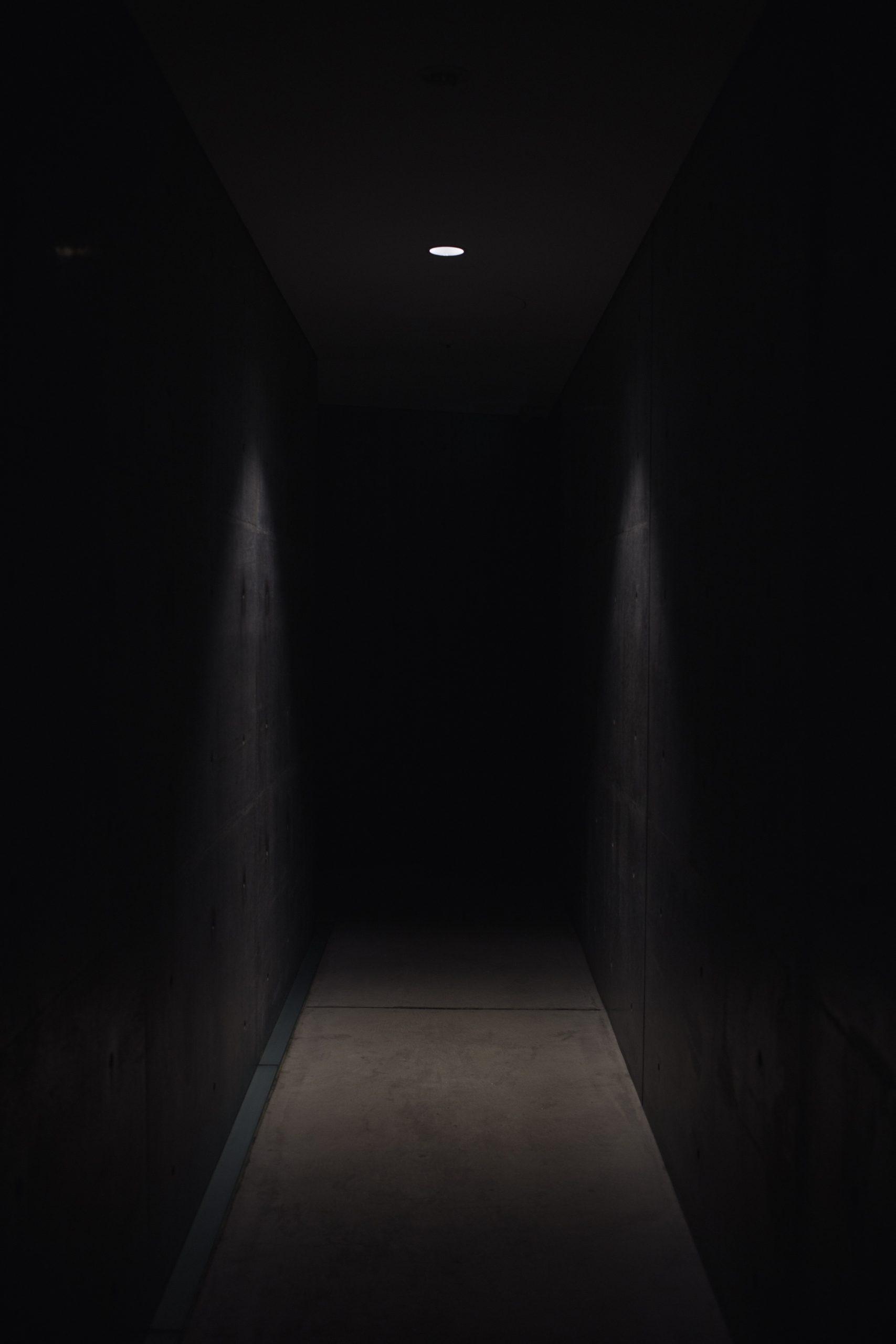wallpaper Dark pathway lit with small light fixture