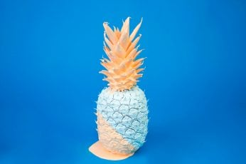Teal and orange pineapple decor