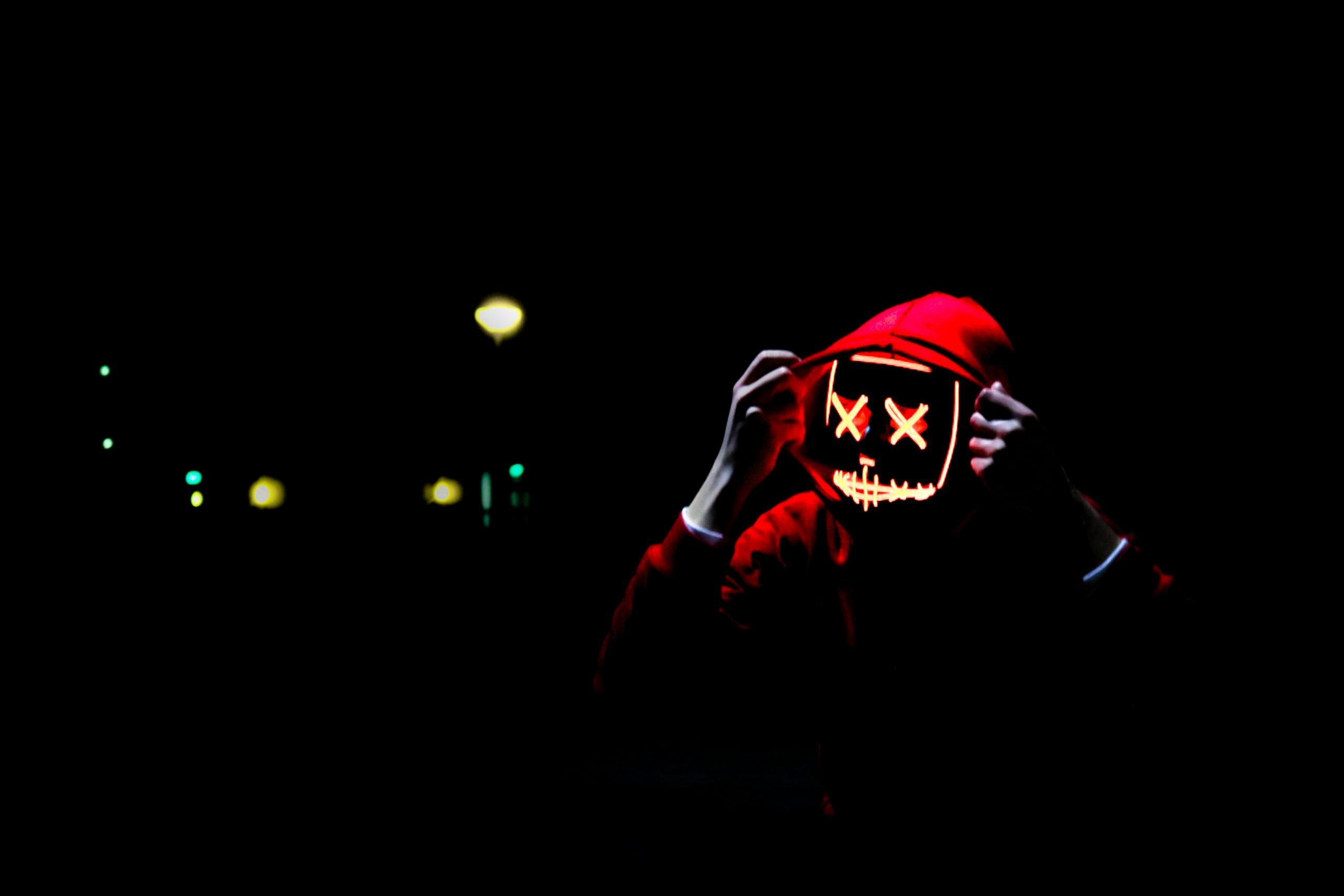 wallpaper Person wearing hoodie and neon mask