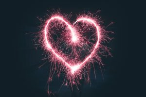 Heart shaped pink sparklers