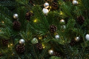 Christmas tree with ornament and lighted lights