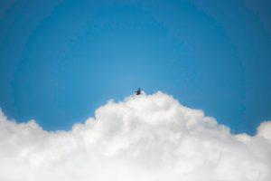Bird flying under blue cloudy sky