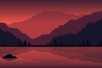 Lake minima sun set mountains wallpaper