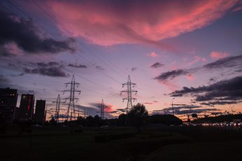 Silhouette photography of electrical posts