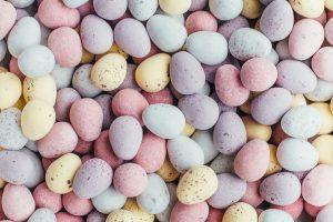White, purple, and yellow stones