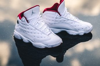 White-and-red Air Jordan 13's