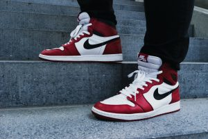 Red-and-white Air Jordan 1