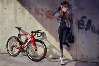 Wallpaper: red and black road bike, anime, anime girls, bicycle, brunette