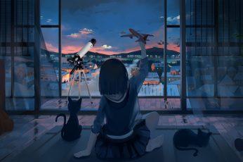 Wallpaper: black-haired woman anime character illustration, anime girls