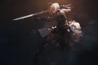 Wallpaper: swords woman digital wallpaper, anime character holding sword digital wallpaper