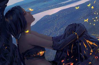 Wallpaper: black-haired female character illustration, anime girls, Anime Game