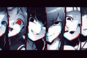 Anime character collage wallpaper, anime girls, monochrome, glitch art