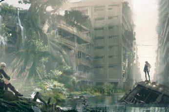 Nier: Automata, 2B, 9S, A2, anime, video games, ruin, cityscape