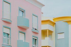 Pastel pink & light blue building
