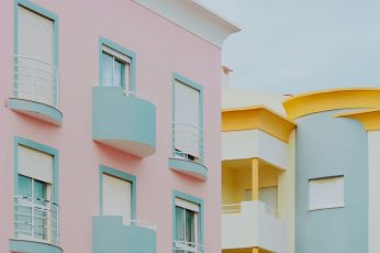 Pastel pink & light blue building