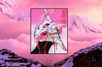Wallpaper synthwave, EVA Unit 01, vaporwave