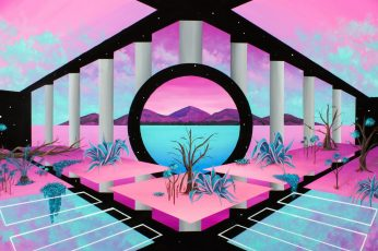 Wallpaper retrowave, vaporwave, abstract, pink