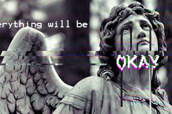 Wallpaper angel statue with text overlay, glitch art, vaporwave