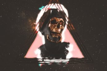 Wallpaper skull painting, vaporwave, statue, digital art