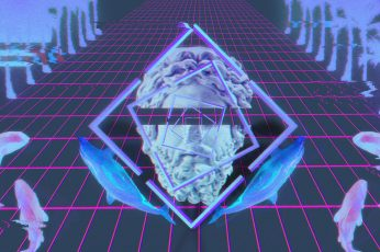 Wallpaper vaporwave statue glitch art