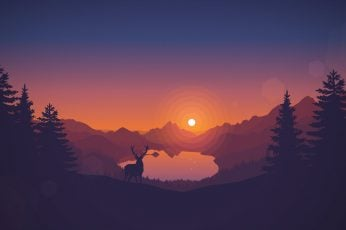Vector wallpaper deer and trees