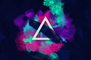 Multicolored triangle abstract art wallpaper