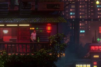 Anime illustration, cyberpunk wallpaper, video games, pixel art, The Last Night