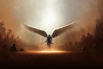 Angel with sword digital wallpaper, Diablo, wings, archangel