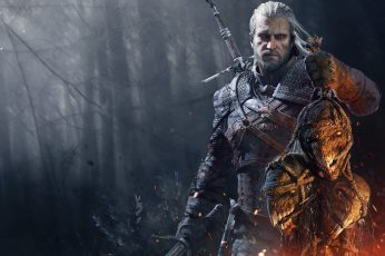 The Witcher Geralt digital, The Witcher 3: Wild Hunt wallpaper