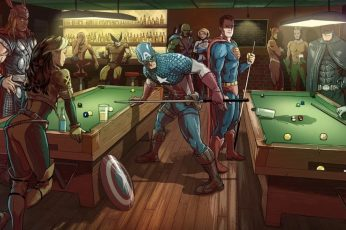 Superheroes wallpaper, Captain America, Superman and Thor playing billiards illustration