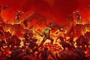 Doom wallpaper, Doom (2016), video games, Doom game, crowd