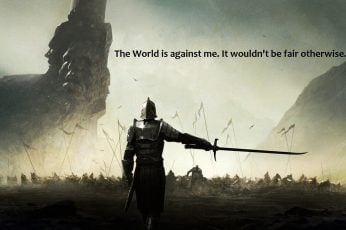 Knight holding sword with text overlay, man in armor holding sword digital wallpaper