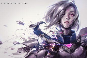 Fiora (League of Legends), women, cyberpunk, broken, video games wallpaper