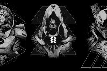 Destiny 2, Video Game Art, collage, video games, skull wallpaper, monochrome