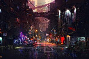 City lights wallpaper, car video game background, night, futuristic city