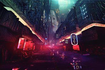 Lighted building illustration movie scene night artwork futuristic city wallpaper