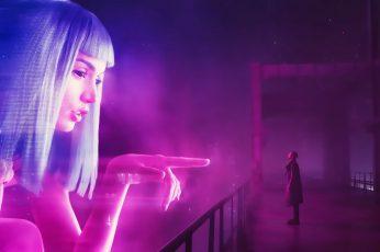 white-haired woman digital wallpaper Blade Runner 2049 cyberpunk wallpaper