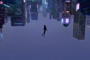 cyberpunk skyscraper upside down animated movies Spider-Man wallpaper