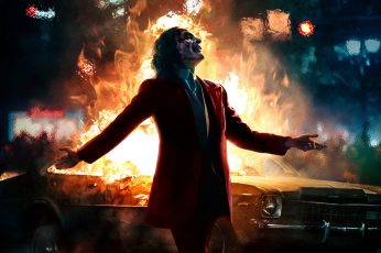 Joaquin Phoenix Joker Batman fire car Joker (2019 Movie) wallpaper