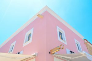 Pink and white concrete house structure architecture houses wallpaper