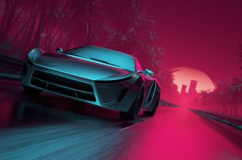 Road, Neon, Machine, Graphics, Art, Electronic, Synthpop, Darkwave wallpaper