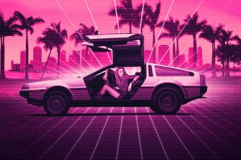 Girl, Music, Neon, Background, DeLorean DMC-12, Electronic wallpaper